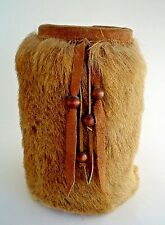 Vintage Native Peruvian Ibex Fur Coated Red Clay Vase with Leather Tassels