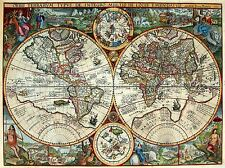 MAP ANTIQUE GLOBE HEMISPHERE ORNATE DECORATIVE ART POSTER PRINT LV2103