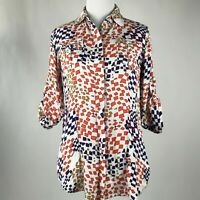CAbi Women White Multicolor Print Button 3/4 Sleeve Shirt Top sz XS