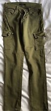 James Jeans Twiggy Cargo Green Army with Zip Jeans. Waist 22 in.