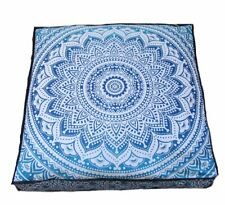 Bohemian Square Floor Cushion Cover Peacock Mandala Design Cotton 35 Inches Art