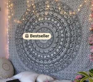 Black & White Elephant Indian Wall Hanging Cotton Tapestry Mandala Tapestries UK