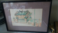 VINTAGE FRAMED GLAZED  CHINESE PEN INK DRAWING- MAN MO TEMPLE  - PATRICK LO