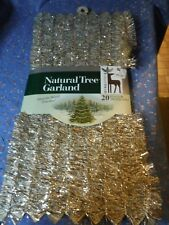 Nos Velvetouch Natural Tree Garland 20 ft x 1 1/2' Gold & White Great Graphics