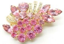 Wow! Vintage Weiss Signed Brooch Pin Prong Set Pink Rhinestone Huge Cluster