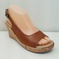 Crocs A LEIGH Cork Wedge Sandals Shoes 6 Open Toe Slingbacks Brown