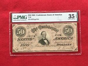 "T-66 1864 $50 CSA Confederate Note ""Jefferson Davis"" *PMG 35 EPQ Choice VF*"