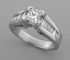 VINTAGE 1ct PLATINUM DIAMOND ENGAGEMENT RING SOLITAIRE BAGUETTE & PRINCESS CUT