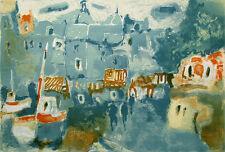 """Robert Delval """"Honfleur"""" Signed Numbered Artwork Lithograph France harbor print"""
