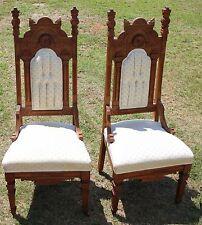 Pair of late 19th c. American Aesthetic Movement Carved Hall Chairs