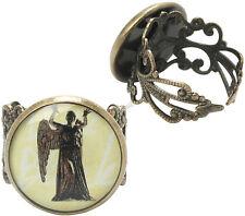 Dr Who Doctor WEEPING ANGEL Costume Ring Adjustable Burnished Gold Filigree Band
