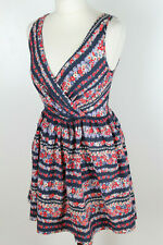 TOPSHOP Ladies Blue Red Floral Sleeveless Fit & Flare Summer Dress Size UK 10