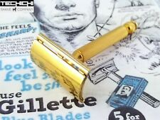 Gillette Ball End Tech Vintage Double Edge Safety Razor Gold for Shaving