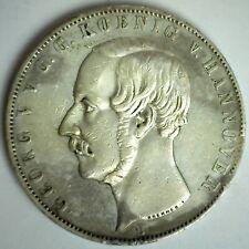 1855 B German States Hanover Silver 2 Thaler Coin Circulated You Grade Rim Dings