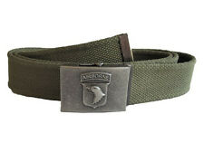 OLIVE GREEN TROUSER BELT WITH 101ST AIRBORNE BUCKLE