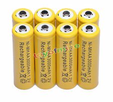 8 AA 2A 3000mAh Ni-MH rechargeable battery RC yellow