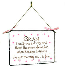 Gran Hanging Shabby Chic Vintage Style Metal Plaque Sign Gift Present