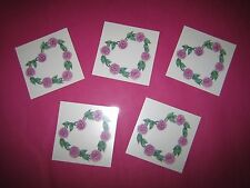 LOT OF 5 Belly Button HEART PINK ROSES Temporary Tattoo