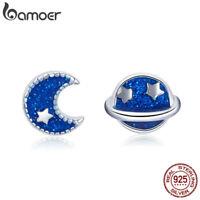Bamoer S925 Sterling Silver Stud Earrings Starmoon's accompany Women Jewelry