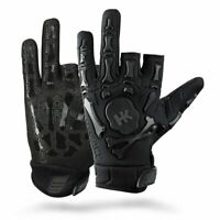 HK Army Paintball Full Half Fingerless Bones Gloves Protective Black - Small S