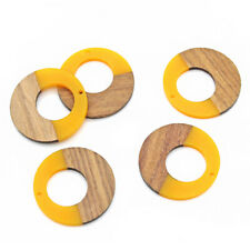 Open Circle Natural Wood and Yellow Resin Charm 38mm - WP135