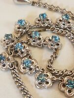 Vintage Sky Blue Rhinestone Silver Tone Choker Necklace Signed Barclay
