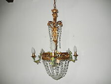 ~c 1910 French Gilt Wood Tole Flowers Crystal Prisms Chandelier Vintage ~