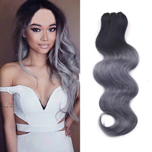 "10""-18""Brazilian Hair Smoky Gray Hair Bundles 100% Ombre Human Hair 100g"