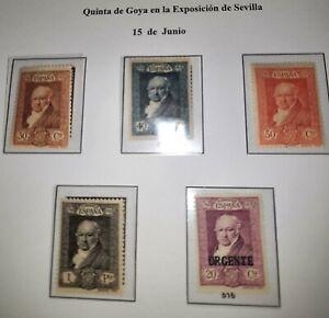 España 1930. Quinta de Goya en la exposición de Sevilla. 5 sellos sin circular.