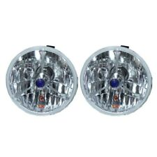 """5 3/4"""" Blue Dot Tri bar H4 Headlights With Turn Signal Push in Bulb lamps US"""