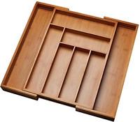 Kitchen Drawer Organizer Expandable Silverware Tray Utensil Wood Cutlery Holder