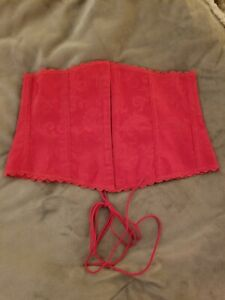 Frederick's of Hollywood Red Paisley Lace Trim Boned Tie Corset 7004 Size Medium