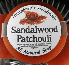Men's SANDALWOOD PATCHOULI Scent Shave Soap, Puck Beard Wash Bar USA Made Musk