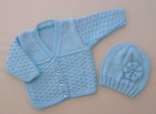 Newborn Baby Girls Cardigan Jacket Hand Knitted With Hat Turquoise Flower
