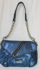 BETSY JOHNSON METALLIC BLUE LEATHER SHOULDER BAG WITH STUDS