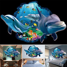 3D Visual Wall Stickers Boy Bedroom Dolphin Ocean Sea Bathroom Decration 90*60cm
