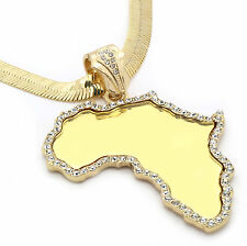 """Mens Gold Plated Africa Mirror Cz Pendant HipHop 30"""" 9mm Herringbone Necklace M5"""