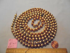 """New listing Christmas Garland Mercury Glass Antique Gold 65"""" Long 5/16"""" Beads T1 Vintage"""