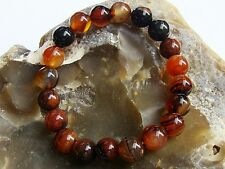 Men's Elasticated Bracelet all 10mm Brown Agate natural gemstone beads