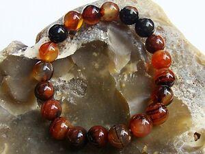 Men's Elasticated Bracelet all 10mm Brown Agate natural gemstone beads