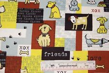 Dog Dogs Kisses Friends Fetch Patch Kids Cotton Flannel Fabric  BTY   (J1) <