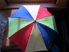 "Vintage Multi-Colored 22"" Rain Umbrella Hat Head Cover"