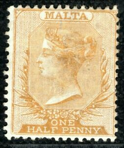 MALTA QV Stamp Classic Halfpenny ½d Buff Shade CC Mint MNG {samwells}YBLUE95