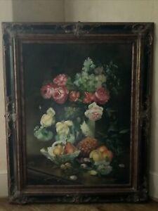 Large Oil Painting Still Life BERNARD VISSER Dutch Old Masterpiece signed Framed