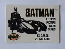 """1989 Topps BATMAN 89 cards series 1 yellow back 132 cards 22 stickers 3"""" x 2"""""""