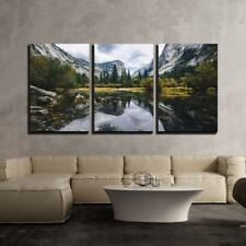 "Wall26 - Mountain Landscape with Lake - Canvas Art Wall Decor - 16""x24""x3 Panels"