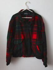 Polo Ralph Lauren Men's Red Green Plaid Fleece Zip Jacket Size L Fall