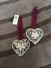 Dunelm Mill Purple Sequin/ Pearl Hanging Heart Cushion Small X2