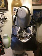 Fossil leather purse large hobo shoulder bag silver with goldtone trim