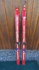 """Vintage 53"""" Skis Red Finish Signed Sport with Metal Bindings"""